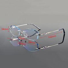 14e2cd519cb4 Vazrobe Rimless Glasses Frame Women Rhinestone Elegant Ladies Eyeglasses  Frames for Prescription Diopter Myopia
