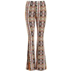 Sans Souci Aztec print bell bottom pants ($29) ❤ liked on Polyvore featuring pants, multi, bell bottom trousers, lightweight pants, elastic waistband pants, elastic waist pants and fitted pants