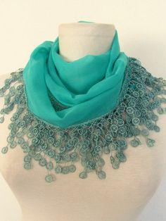 DARK MINT Green Cotton Fabric Fringed Guipure  Scarf by asuhan, $14.90