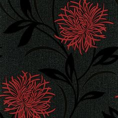 Belgravia Decor Zoe Night Wallpaper Red / Charcoal / Black £12.99