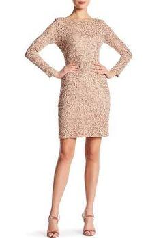 Marina Long Sleeve Lace Sequin Dress at HauteLook - Womens ...