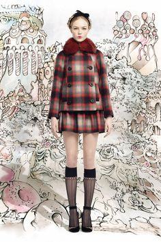 Red Valentino - New York Fashion Week A/W 2013 - Red and grey tartan wool coat with a red fur collar and matching skirt