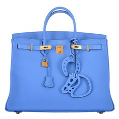 SIMPLY PARADISE! HERMES 40cm BIRKIN BAG BLUE PARADISE GOLD HARDWARE 2DIE4 | From a collection of rare vintage top handle bags at https://www.1stdibs.com/fashion/handbags-purses-bags/top-handle-bags/
