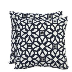 """Sunbrella Luxe Indigo 16""""x16"""" Outdoor Accent Pillows (set of 2) $38.  Coordinates:  Sunbrella Navy Cushions."""
