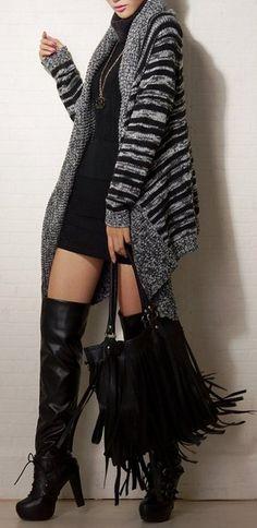 Women Stripe Asymmetric Hem Cardigan Sweater Coat
