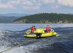 An inflatable towable tube is fun for all the family and requires no athletic ability