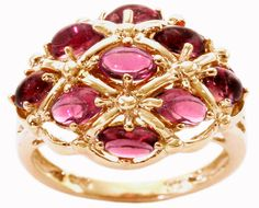 pink tourmaline cluster ring in yellow gold
