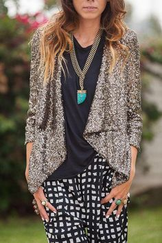 Sequin jacket & harem pant
