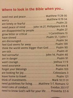 where to look in bible when you feel...