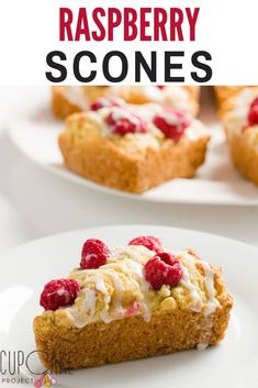 These raspberry scones are buttery, tender, lightly sweetened, and irresistible. They are made with fresh raspberries and topped with a lemon glaze. Best Dessert Recipes, Candy Recipes, Brunch Recipes, Fun Desserts, Sweet Recipes, Baking Recipes, Breakfast Recipes, Cookie Recipes, Bread Recipes