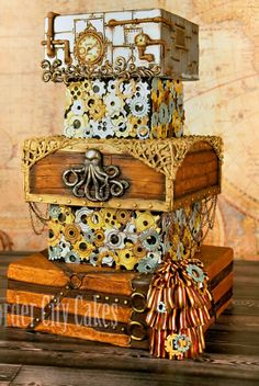 Steampunk Pirate Cake by Border City Cakes I like this, only maybe smaller? Crazy Cakes, Fancy Cakes, Gorgeous Cakes, Pretty Cakes, Amazing Cakes, Unique Cakes, Creative Cakes, Steampunk Wedding Cake, City Cake