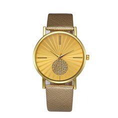 Pineapple Gold Watch Women Retro Digital Dial Leather Band Quartz Analog Wrist Watch