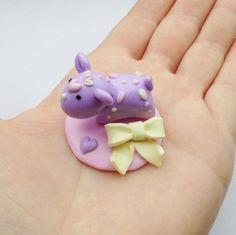 Pastel Momo With Loose Bow Stand Handmade Polymer Clay by Shymori