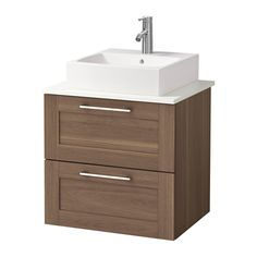IKEA - GODMORGON/ALDERN / TÖRNVIKEN, Wsh-stnd w countrtop 45x45 wsh-bsn, walnut effect, white, , 10 year guarantee. Read about the terms in the guarantee brochure.Laminate countertops are highly durable and easy to maintain. A little care will keep them looking brand new for years.You can place the wash-basin where you prefer – left, right or in the middle.Smooth-running and soft-closing drawers with pull-out stop.You can easily customise the size of the drawer by moving the divider.You can…
