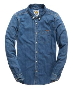 Mens - Nu London Loom Shirt in Classic Blue Wash   Superdry