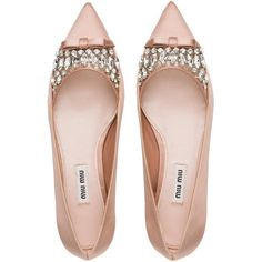 Miu Miu Ballerina (¥99,840) ❤ liked on Polyvore featuring shoes, flats, pumps, heels, ballet flat shoes, ballet shoes, flat shoes, embellished flats and heeled flats