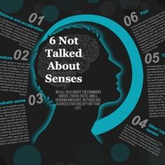 This infographic goes over 6 not very popular senses all humans have.  These senses go beyond those of touch, taste, smell etc...