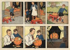 """Vintage Halloween Ephemera ~ Carving the Pumpkin * A page from an old school activity book called, """"Before We Read""""."""