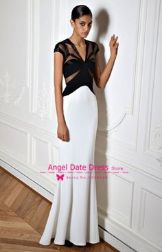 Find More Prom Dresses Information about Zuhair Murad 2014 Elegant White Black Mermaid Prom Dresses V neck Cap Sleeves Fromal Dresses Evening Dress Party Gown Customize,High Quality dresses and evening gowns,China gown evening Suppliers, Cheap dress empire from Angel Date Dress Store on Aliexpress.com