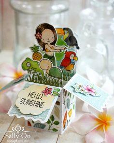 Box card using My Favorite Things Birdie Brown Polynesian Paradise stamp and die set.