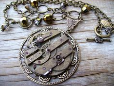 Steampunk Brass & Beads Necklace. Very vintage and fun! Etsy seller is CompassRoseDesign