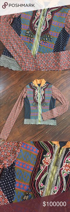 Boutique Zip Up Jacket Purchased in Berlin at boutique. Handmade and gorgeous!! Beads, Lace and stitch work, what more could you ask for 😍 (not Anthropologie) Anthropologie Jackets & Coats