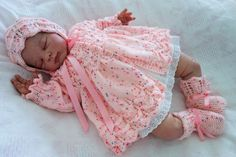 """A stunning baby's hand knitted matinee coat, bonnet and bootees in pink to fit approx 0-6 months or reborn doll approx 20-22"""" by KosyKnits on Etsy"""