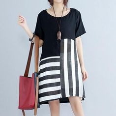 Specification: Sleeve Length:Short Sleeve Neckline:O-neck Color:Black Style:Casual,Fashion Length:Mini Pattern:Stripe Material:Polyester Season:Spring,Summer Package included: Funky Dresses, Casual Dresses For Women, Clothes For Women, Dresses Dresses, Dress Casual, Cheap Dresses, Casual Chic, Minimalist Winter Outfit, Black Dress With Sleeves