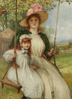 "Happy Days: Mother and Daughter on a Swing"" (1895) by Robert Walker Macbeth (1848-1910). Description from the-garden-of-delights.tumblr.com."