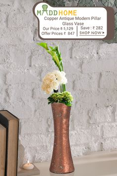 Bring an elegance to your room`s corners & spaces with our collection of Copper Antique Modern Pillar #Glass #Vases.