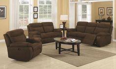 dark brown carpet what color walls | Sadie Casual Dark Brown Ultra Plush Power Motion Sofa Set