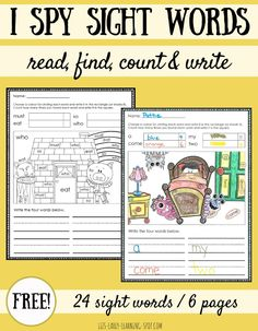 These free sight words coloring pages allow kids to read, find, count and write 4 sight words at a time. There are 6 pages in both US and Aussie spelling.