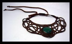 pectoral calado en cuero café con piedra crisocola leather collars stone Semi Precious Gemstones