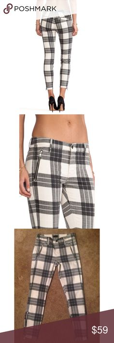 MOTHER Crop Zip Muse in Once Upon a Tartan, 24 Excellent condition. Size 24.  MOTHER Crop Zip Muse for Women Description: Classic tartan patterns chic cropped pants with exposed zippers accent the cuffs and welt pockets on these cropped MOTHER skinny pants, and plaid patterns offer a bold finish. Faux back pockets. Single-button closure and zip fly. Fabric: Stretch twill. 78% cotton/20% polyester/2% elastane. Wash cold. Made in the USA. MEASUREMENTS Rise: 8in / 20cm Inseam: 26in / 66cm Leg…