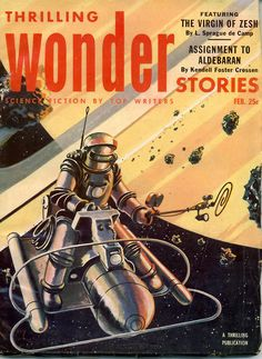 Wonder Stories was a sci fi pulp mag which published 66 issues between 1930 & 1936,edited by Hugo Gernsback.In 1936 Wonder Stories was sold to Thrilling Publications.To match with their other pulps the title was changed to Thrilling Wonder Stories.A further 112 issues published with varying frequency,closing in 1955.Thrilling Wonder Stories was standard pulp size & took a junior slant.Published many major figures,like Arthur C. Clarke,L. Sprague de Camp,Robert A.Heinlein & Theodore Sturgeon.