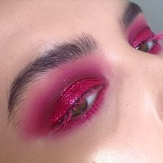 Red glitter smokey eye makeup