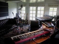 A shot of recording gear taken during Noah and The Whale's writing session at The Summerhouse Writing Studio on Osea Island, UK // it's messy but I like it.