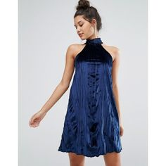 Missguided High Neck Pleated Velvet Swing Dress ($42) ❤ liked on Polyvore featuring dresses, navy, navy blue velvet dress, velvet swing dress, trapeze dress, pleated dress and velvet dress