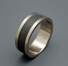 feather inlay mens ring