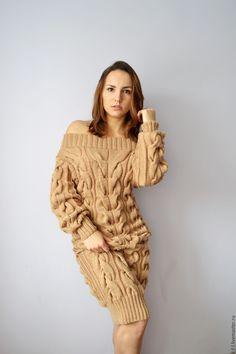"""Купить Вязаное платье """"Гранд"""" цвета кэмел - бежевый, платье, вязаное платье, женское платье"""
