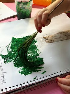 Painting with a Pine Needle Branch from the forest.