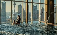 """Some of these are just plain insane!!!    Billed as the """"sexiest hotel pool ever"""", couples can book exclusive    access for the ultimate dip à deux on the 41st floor of this Shanghai    high-rise. Staff are discreetly on-hand to top up glasses of bubbly, proffer    canapés or mix a romantic soundtrack against a backdrop of this exciting    city's futuristic skyline.    Check    availability     Read more: China    travel guide"""