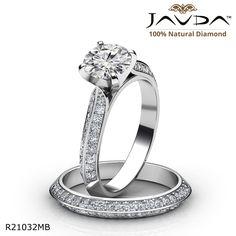 2 Row Shank Pave Bridal Set Round Diamond Engagement Ring 14k White Gold.