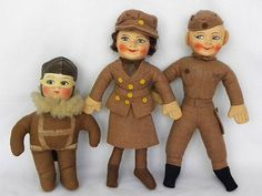 Two Vintage Chad Valley Norah Wellings Cloth Military RAF Dolls & Paratrooper