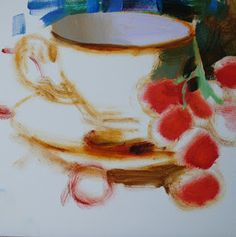 Paintings by Elena Katsyura: Teacup and Red Grapes