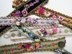 Gorgeous Ribbon Bracelets by Helen Gibb, via CraftGossip