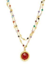 Red Carnelian & CZ Double Strand Pendant Necklace by Mary Louise Designs - Found at #GiltLive via @GiltGroupe