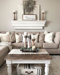 36 popular rustic farmhouse living room decor ideas for comfortable home . 36 popular rustic farmhouse living room decor ideas for comfortable home Source by hrnic Big Living Rooms, Living Room Interior, Home And Living, Small Living, Decorating Ideas For The Home Living Room, Apartment Living Rooms, Hallway Decorating, Shelf Ideas For Living Room, Home Decorating