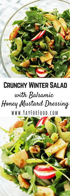This healthy, delicious crunchy winter salad is paired with a homemade balsamic-honey mustard dressing. Easy to prepare and ready in 10 minutes or less! Crunchy Winter Salad with Balsamic Honey Mustard Dressing Winter Salad Recipes, Healthy Salad Recipes, Healthy Snacks, Vegetarian Recipes, Healthy Eating, Cooking Recipes, Christmas Salad Recipes, Vegetarian Salad, Dessert Healthy