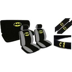 I found 'New Design 11 Pieces Batman Classic Logo Car Seat Covers Set Includes Front and Rear Seat Cover, Steering Wheel Cover, Seat Belt Covers' on Wish, check it out!